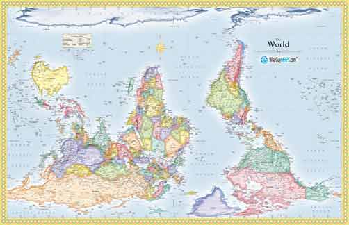 Upside down maps reverse the world with south up upside down world map large gumiabroncs Gallery
